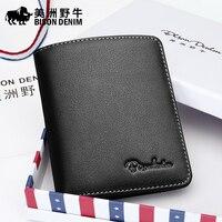 Buffalo Leather Wallet Male Short Wallet Genuine Vertical Head Layer Cowhide Wallet Leather Slim Wallet