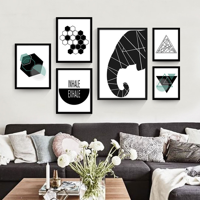 living room posters. Geometric abstract modern living room canvas poster decorative painting  murals painted personalized creative wall paintings