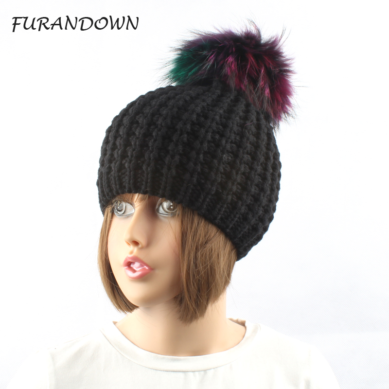 FURANDOWN Autumn winters fashion brand skullies & beanies bonnet pompom fur hats for women girls skullies