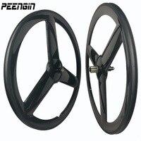 Hot 2018 Newest carbon tri spoke wheels clincher 700C road bike tubular bicycle three spoke wheelset 3 spokes wheel cheap sales