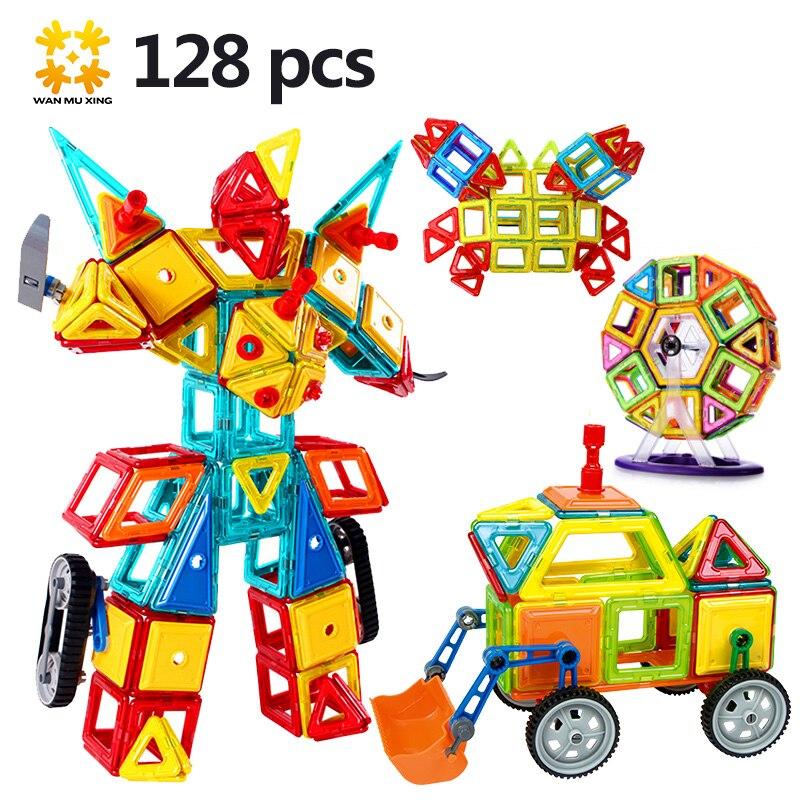 Medium Sizes Magnetic Building Blocks Designer kits 128Pcs with Ferris Wheel Car Models Educational DIY Bricks Toys For Children