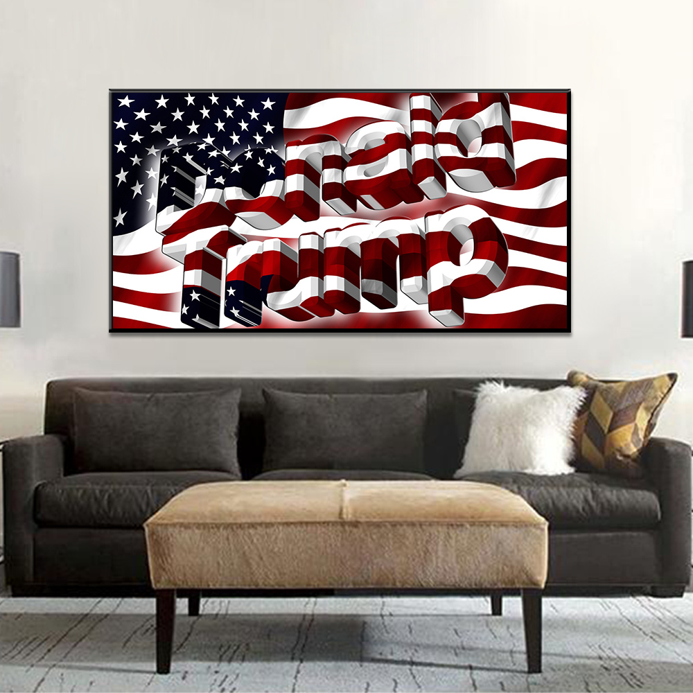 Canvas Painting American Flag Banner Donald Trump Posters And Prints Wall Pictures For Living Room Wall Art Decoration