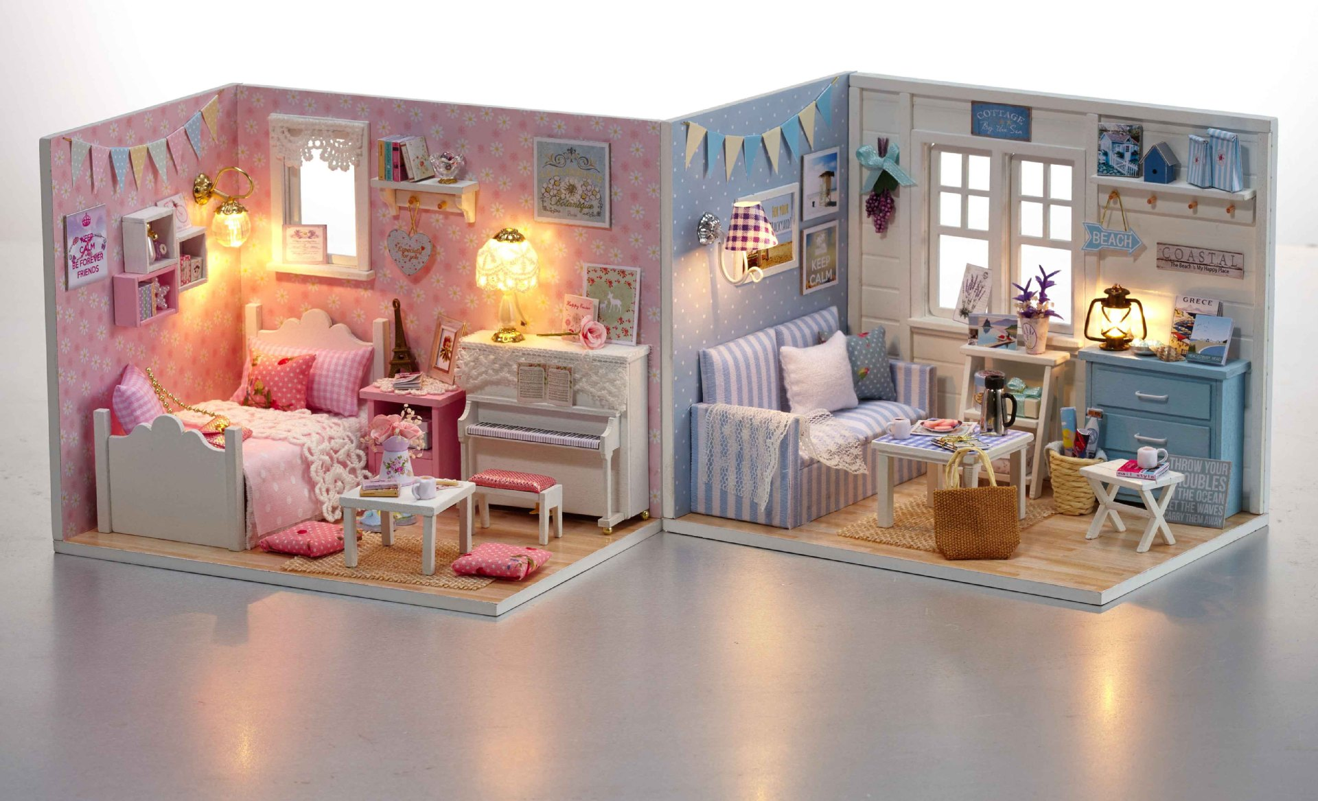 Doll House 3d Diy Model Kits Handmade Wooden Miniatura Furniture 3d Miniature Dollhouse Toys Blocks Girlfriend