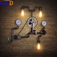 IWHD 3 Heads Water Pipe Retro Wall Light Up Down Loft Industrial Vintage Wall Lamp Pocket Watch Iron Sconce Arandela Lighting