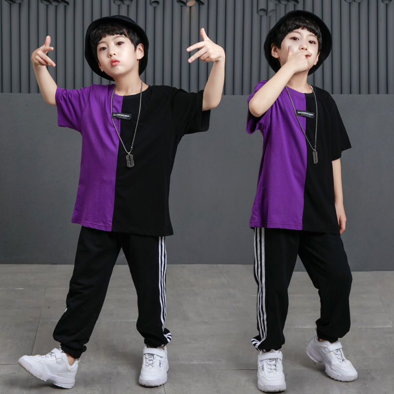 New Boys Color Matching Street Dance Clothes Summer Korean Version Of Modern Dance Practice Clothes Hip Hop Show Clothing
