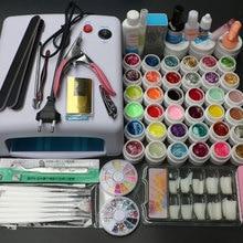 Pro 36 Вт УФ-гель белая лампа и 36 цветов УФ гель для ногтей Инструменты Набор лаков MS-111