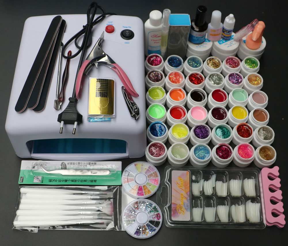 New Pro 36W UV GEL White Lamp & 36 Color UV Gel Nail Art  Tools Polish Set Kit MS-111