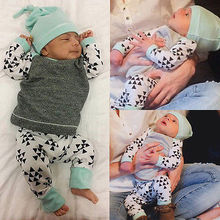 Newborn Baby Triangle suit kids Girls Boys Casual Clothes Long Sleeve T-shirt Tops Pants Hat Outfit