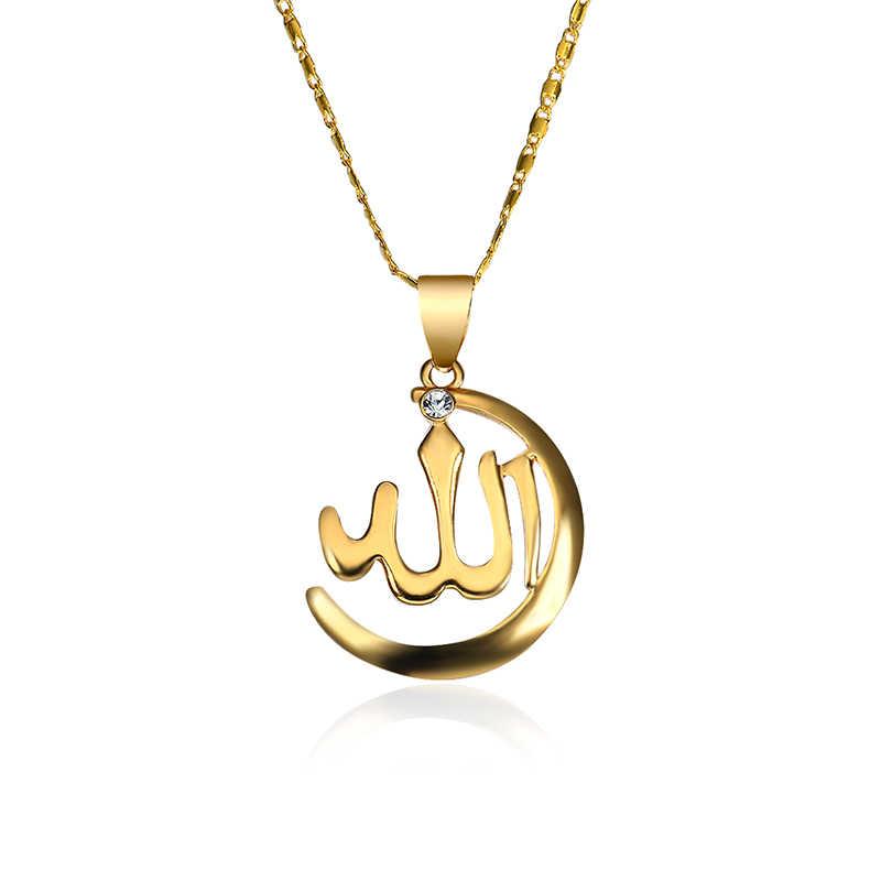 新ゴールド色アッラーネックレス女性/男性ジュエリーラインストーン宗教イスラム教徒イスラムムーンネックレス & ペンダントアラブ名