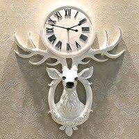 Творческая Европа головы оленя, Настенные Часы Домашнее украшение для гостиной спальня старинные большие часы висит Декор Рождественский