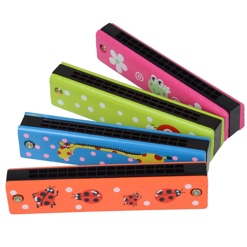 Childrens Wood Music Wooden toy Harmonica 4 PCS set, Kids Classic Harmonica wooden Toys Baby Rattles & Mobiles toy/gift