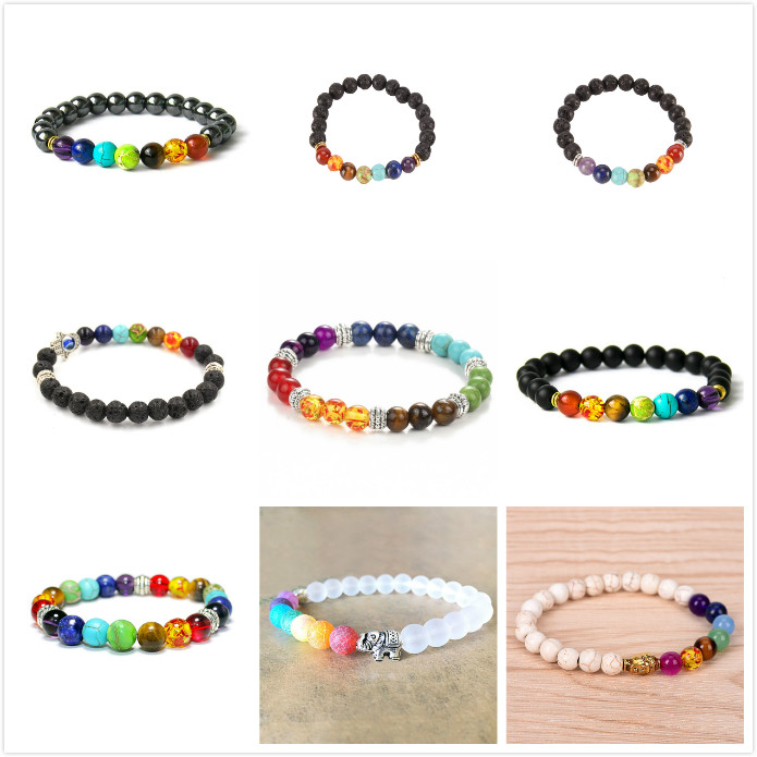 New Bracelet Black Lava Healing Balance Beads Men/Woemn Reiki Buddha Prayer Natural Stone Yoga Bracelet 069