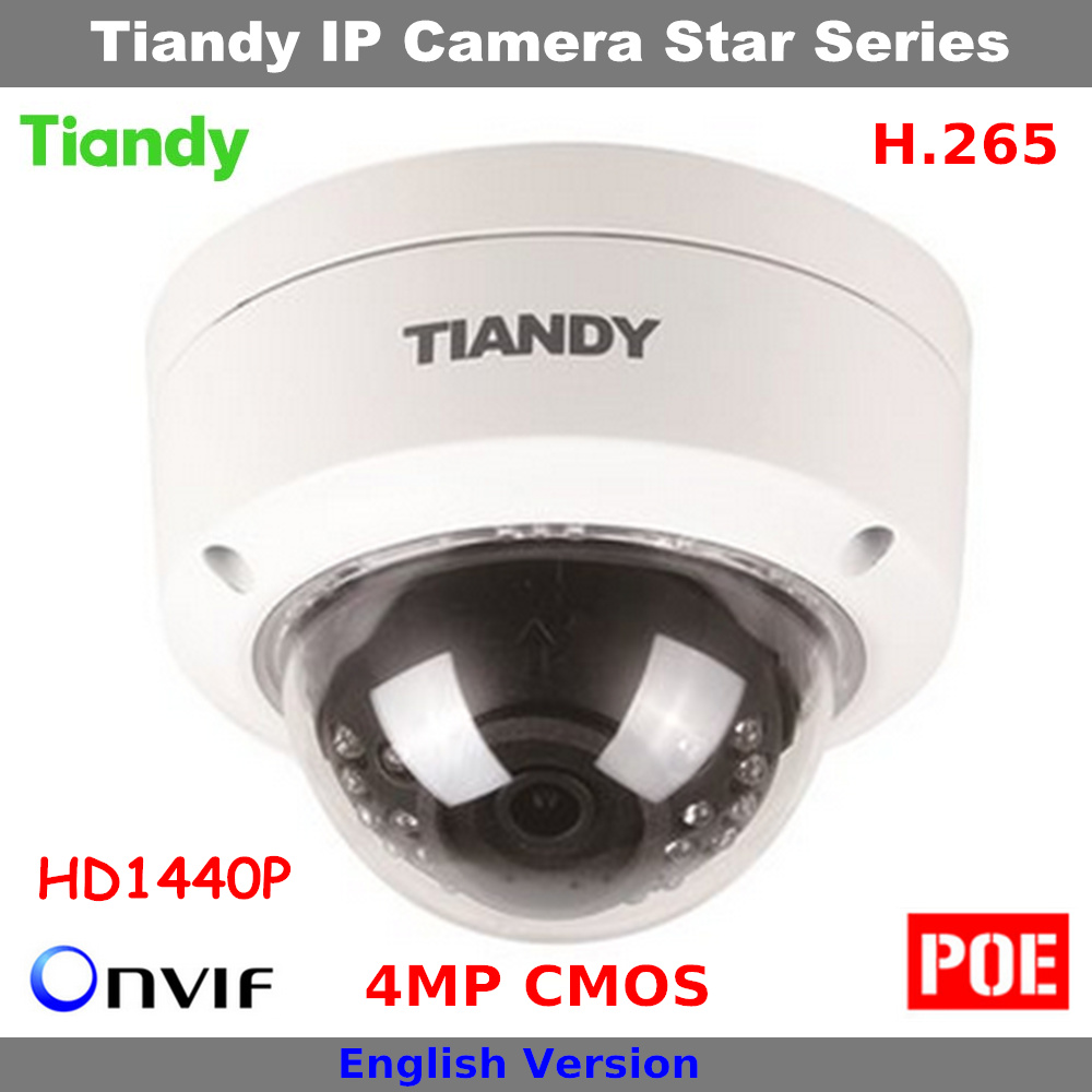 Clear stocks Cheap H.265 4MP CMOS HD 1440P Original Tiandy Camera Support POE and English Dome Camera Security IP Camera