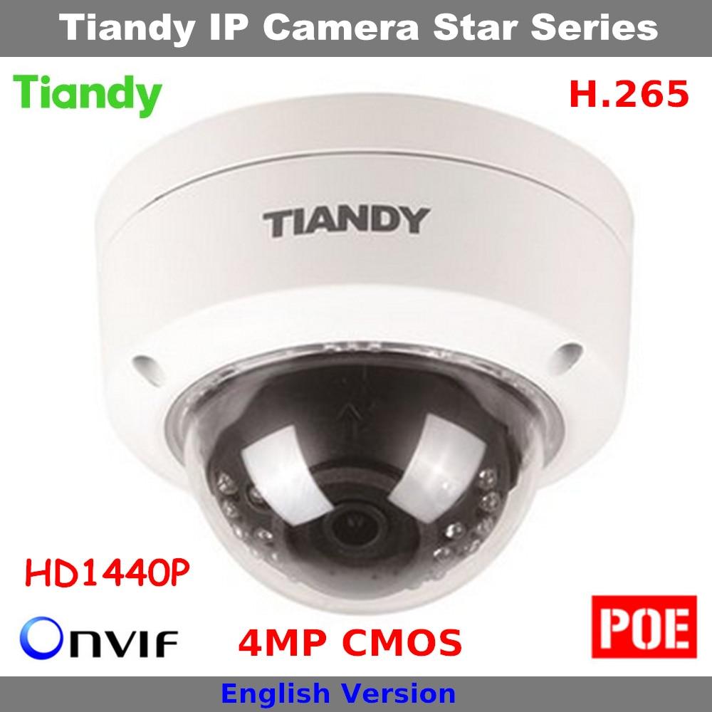 где купить Clear stocks Cheap H.265 4MP CMOS HD 1440P Original Tiandy Camera Support POE and English Dome Camera Security IP Camera дешево