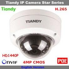 Onvif H.265 4MP CMOS HD 1440 P Оригинальный Tiandy Камера Поддержка POE и Английский Купольные Камеры, Ip-камеры Безопасности