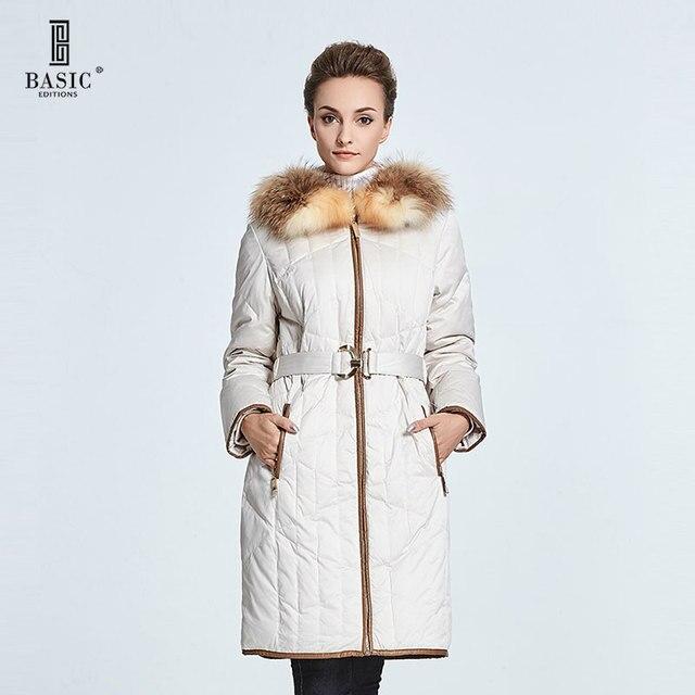 BASIC EDITIONS 2014 осень зима модный пуховик длиный с капюшоном с богатым настоящим мехом енота с поясом
