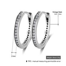 Genuine 925 Sterling Silver Cubic Zirconia Round Circle Hoop Earrings For Women