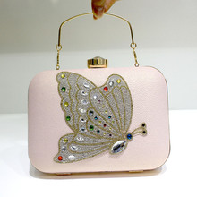 2017Butterfly bridesmaid clutch diamond luxury banquet handbag small elegant shoulder Embroidery evening bag8989