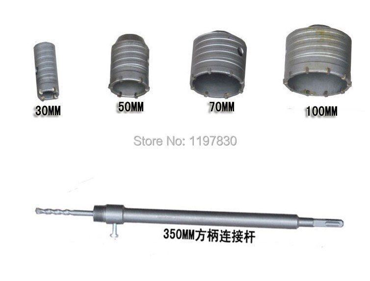 New offer 6PC/set TCT electric Hammer wall hole saw 30/50/70/100mm with 1pc square four holow extension rod 1pc central drill air condition water pipe contrete 50mm wall hole saw drill bit 200mm square rod