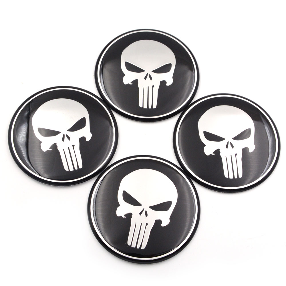 4 x 55mm Alloy Wheel stickers Punisher Red and Black center badge trim cap