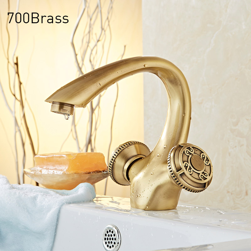 Luxury Bathroom Vanity Tap Faucet, Solid Brass Material, Oil Rubbed Bronze / Black, Antique Brass / Copper brass material entrance lock antique brass antique copper coffe finish