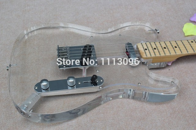 Cheap free shipping Wholesale New guitarra Acrylic Body clear color electric guitar with hard case /maple Fingerboard/guitar+case
