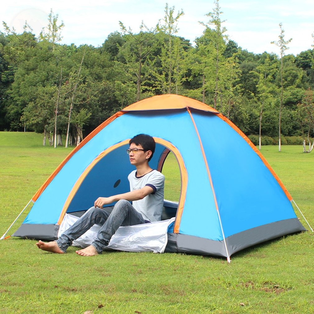 Outdoor Lazy Tents Portable 3-4 Person Automatic Tent Fast Folding Waterproof Anti-UV Hand Throwing Tent Beach Camping Tent high quality outdoor 2 person camping tent double layer aluminum rod ultralight tent with snow skirt oneroad windsnow 2 plus