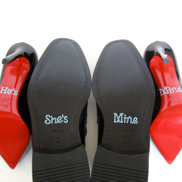 Ensemble De Il Est La Mienne, Elle Est L'autocollant De Chaussures De Mariage Strass Cristal Mien, Argent