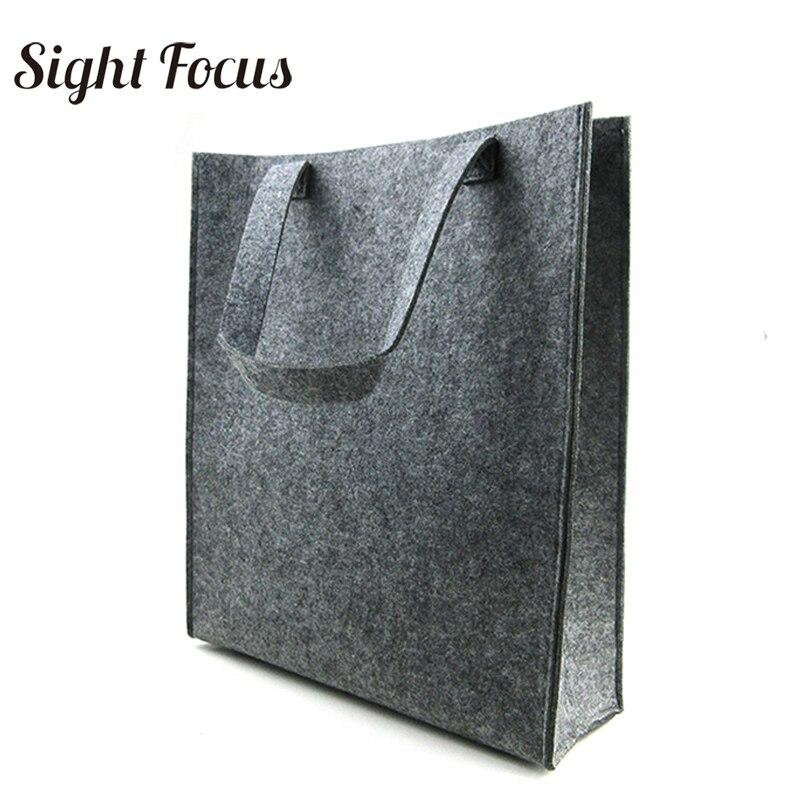 400 pièces feutre sac fourre-tout gris femmes simple magazine sac hommes écologique feutre fichier sacs dame Simple quotidien voyage sacs