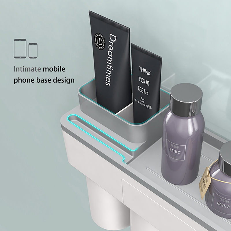 Image 3 - Toothbrush holder bathroom accessories toothpaste storage organizer glass for toothbrushes shelf magnetic adsorption With cup-in Bathroom Accessories Sets from Home & Garden