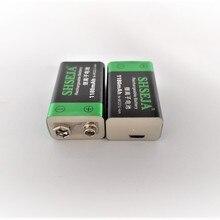 2шт 9 в USB перезаряжаемая батарея 1180 мАч 6F22 литий-ионная батарея для беспроводного микрофона гитары эквалайзер дымовая сигнализация мультиметр
