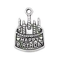 60pcs-день рождения амулеты античный серебряный торт со свечами амулеты 22x15 мм