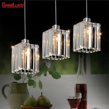 Modern K9 kristal Led kolye lambaları lüks kolye ışık fuaye asılı Lampara cilalar armatür iç mekan aydınlatması fikstür