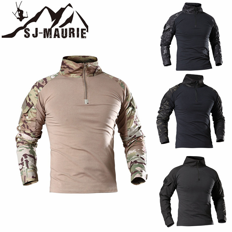 SJ-MAURIE Camouflage Army Hiking Shirts T-Shirt Men Soldiers Combat Tactical T-Shirt Military Force Camo Long Sleeve T-Shirt