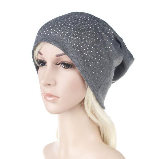 b060265dbc US $6.29 10% OFF|Rhinestone Beanies Women Spring Glitter Knitted Winter Cap  Solid Color Skullies Slouchy Beanie Hats Bonnet Womens Cap Hat Gorro-in ...