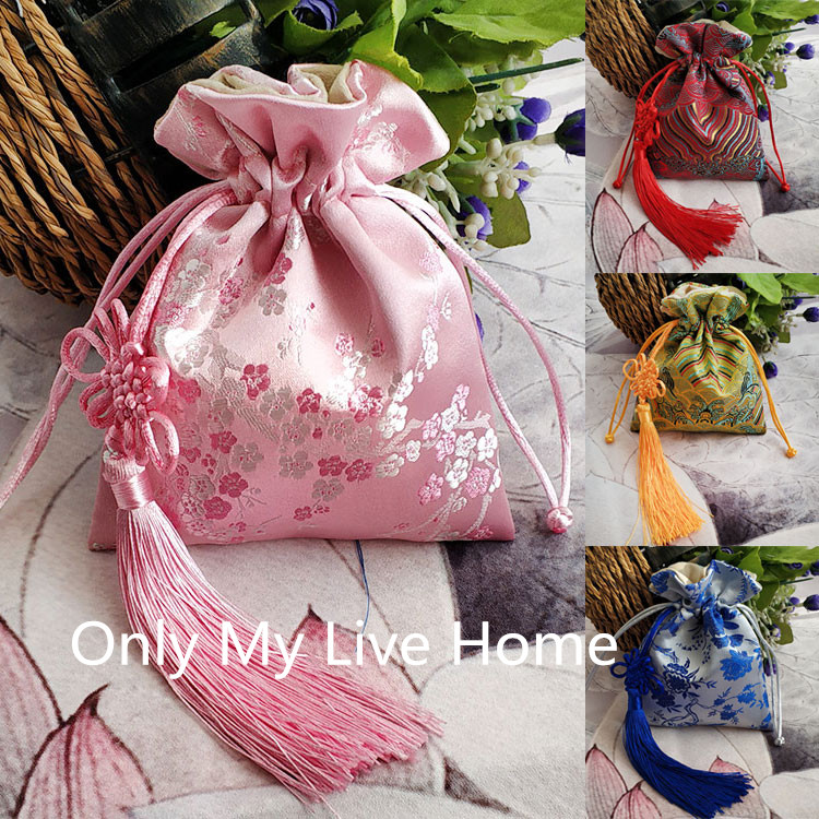 Latest Large Chinese Knot Decorative Jewelry Gift Bags Silk Brocade Pouch Suede Lined Drawstring Empty Sachet Bags Storage 1pcs