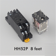 Intermediate relay HH52P small intermediate electromagnetic relay  220V/110v/380v AC and DC 12V 24V  with 8 feet relay SOCKET free shipping 2pcs lot 55 34 8 230 0040 230vac original italian intermediate relay