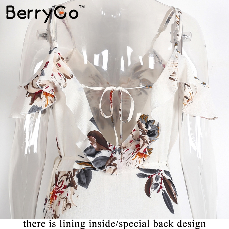 BerryGo Floral print ruffles chiffon maxi dresses Strap v neck split beach summer dress Sexy backless women dress long vestidos 5