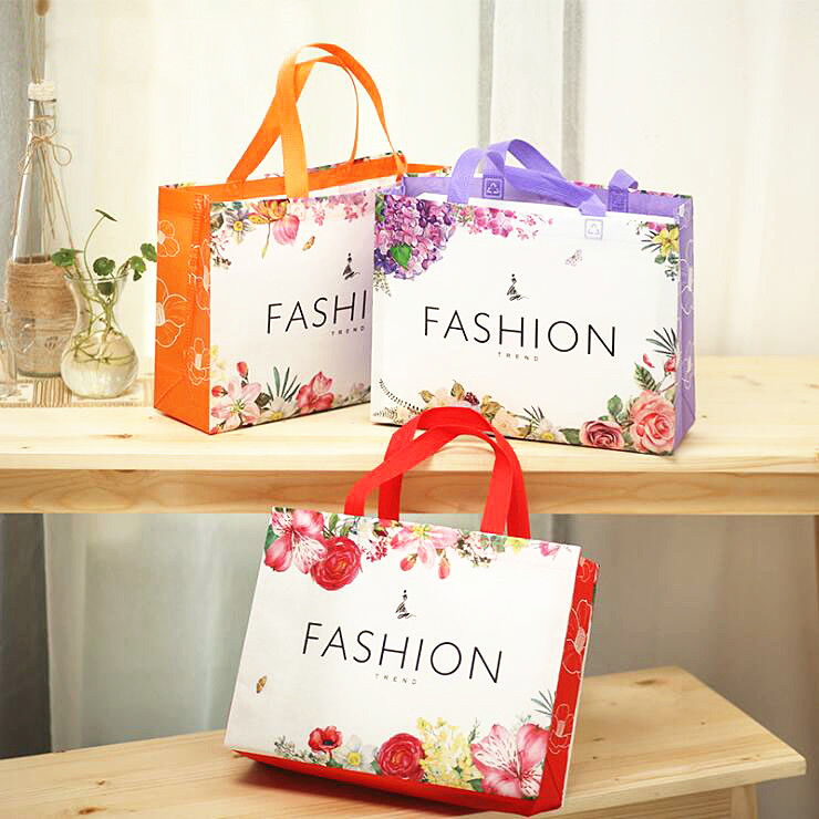 Reusable Shopping Bags Non-woven Fabrics Packing Recyclable Bag Flower Design Lovely Tote Handbag Fashion