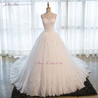 Liyuke Sweetheart Applique Zipper A Line Count Train Charming Button Lace Wedding Dress