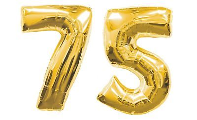 75th BIRTHDAY PARTY DECORATION Kits 40 Inch GIANT GOLD Number 75 FOIL Mylar BALLOONS Nos 7