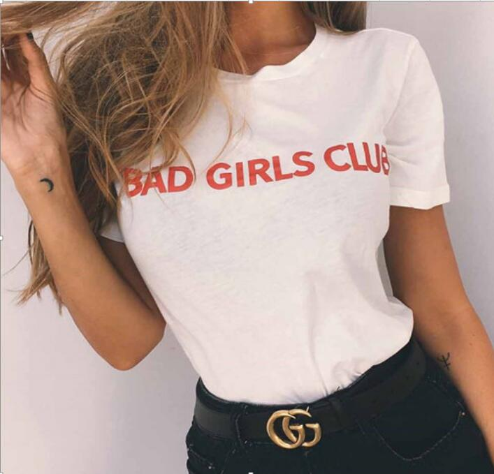 Free Shipping Summer Style Tumblr Shirt Bad Girl Club Red -7434