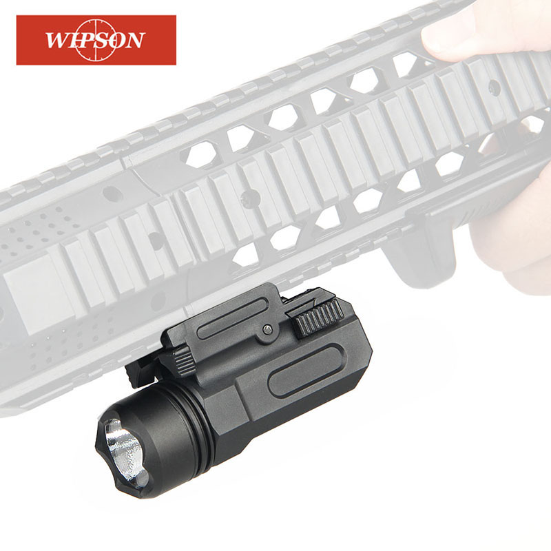 WIPSON LED Shotgun Rifle Glock Gun Flash Light Tactical Torch Flashlight With Release 20mm Mount For Pistol Airsoft