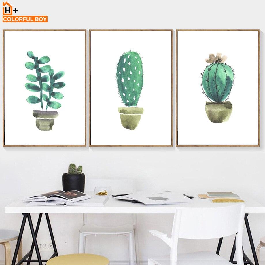 Rəngli Kaktus Divar İncəsənəti Çap Kətan Boyalı akvarel - Ev dekoru - Fotoqrafiya 3