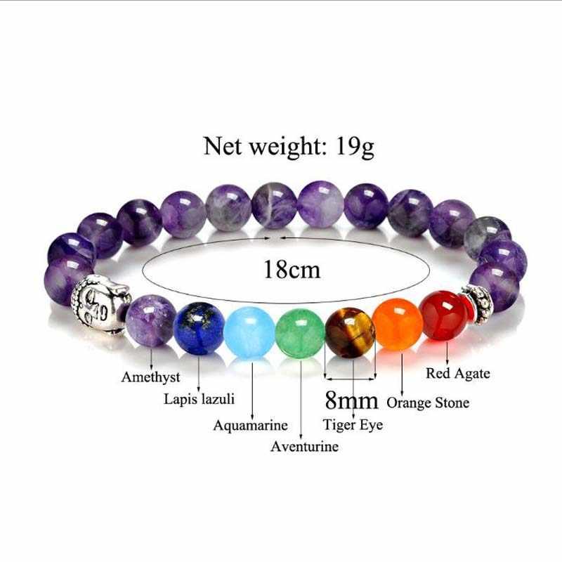 8 kolory 2018 7 Chakra Healing Balance budda koraliki bransoletki bransoletki urok bransoletka z kamienia naturalnego joga biżuteria mężczyźni kobiety prezent