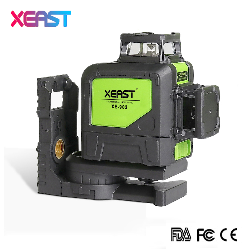 XEAST XE-902 8 Lines Green Laser Levels Self Leveling 360 Horizontal and Vertical Cross Super Powerful 3D Green Laser Beam Line a8827d 360 degree self leveling 3 lines 3 points rotary horizontal vertical red laser levels cross laser line laser highlights