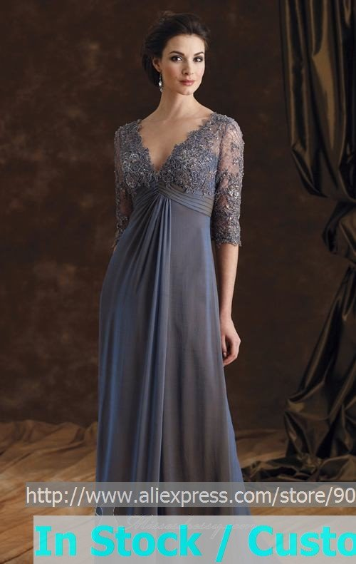 A line steel blue chiffon lace evening dress 3 4 sleeve v for 3 4 sleeve wedding guest dress