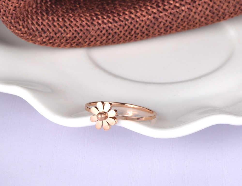 Lokaer Einfache Daisy Ring Edelstahl Schmuck Rose Gold Farbe Niedlichen Stil Für Mädchen Weihnachten/neue Jahr Geschenk R18138