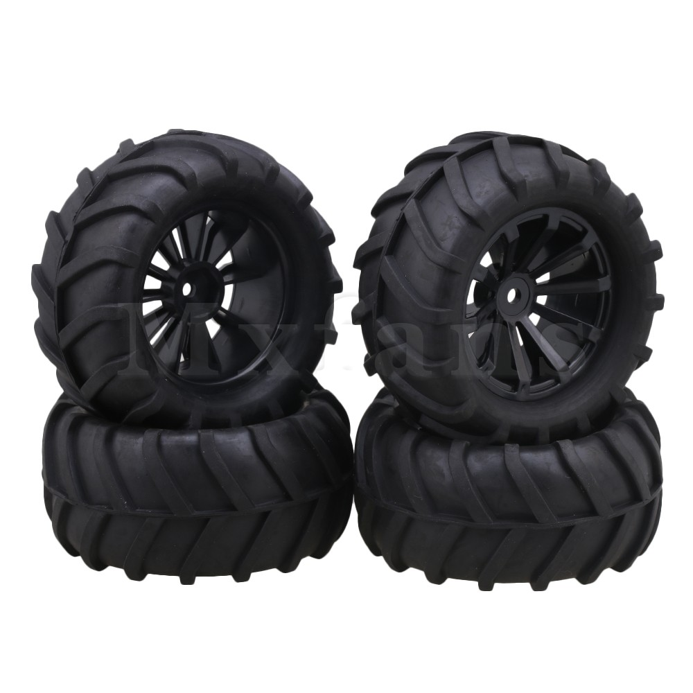 Mxfans 12mm Hex Black Plastic Concave Wheel Rims + Twig Pattern Rubber Tyre Tire for RC1:16 Largefoot Car Pack of 4