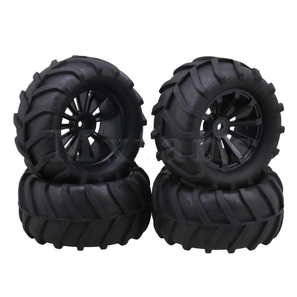 Mxfans 12 мм шестигранные черные пластиковые вогнутые обода колеса + резиновая шина с узором твига для RC1:16 больших ножек, 4 шт. в упаковке